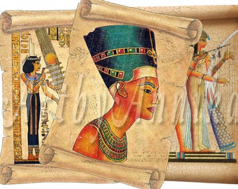 Egyptian scrolls - post card - digital collage - set of 9 - Printable Download