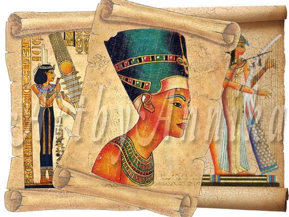 Egyptian scrolls - post card - digital collage - set of 9 - Printable Download