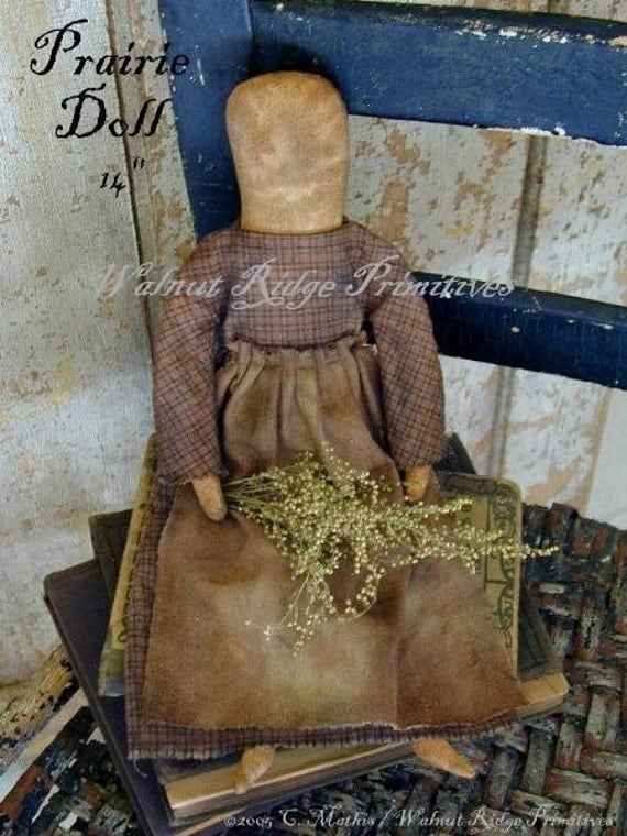 primitive instant download e pattern prairie doll by walnut