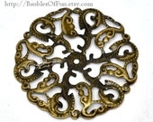 Filigree : 10 pieces Antique Bronze Filigree Flower Connectors Links | Brass Filigree Metal Stampings -- Lead, Nickel & Cadmium free 14165.L