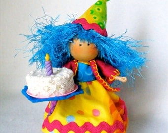 Birthday Art Doll,  Clothespin Art,  Party Peg Doll,  Pegtales Birthday Cake