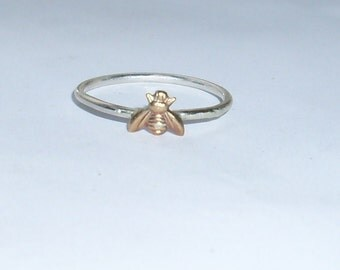 Little Bee- Sterling Silver and Brass -Stacking Ring