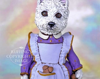 Dog Art Doll, OOAK Original Westie, Hand Painted Folk Art Figurine Sculpture, Wendy by Max Bailey, Free Shipping Within The USA