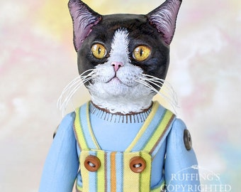 Art Doll, OOAK Original Tuxedo Cat, Hand Painted Folk Art Sculpted Doll, Tommy by Max Bailey, Free Shipping Within The USA