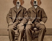 Beagle Dog Art Print, Twin Brothers Art, Altered Antique Photography, Beagle Boys, 5x7 Collage Art, Tan and Brown Art