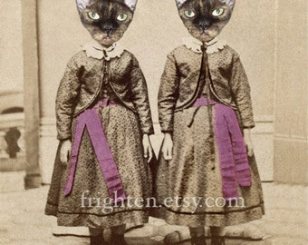 Cat Art Print, Devon Rex Cat, Cat in Clothes, Twin Sister Art, Collage Art, Cats in Dress, Animals in Clothes, Creepy Cute Art