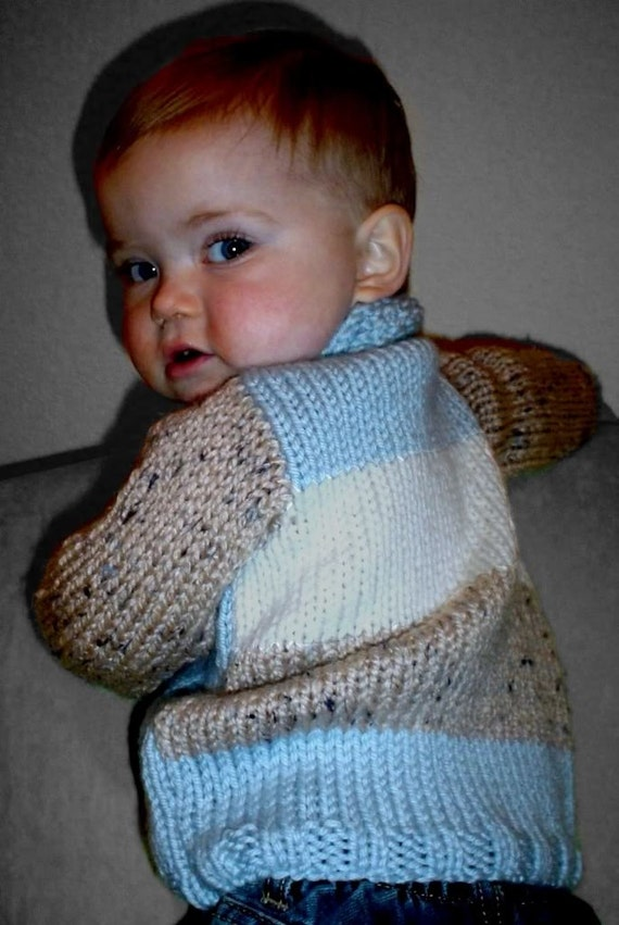 Simple Knitting Pattern Toddler Jumper : KNITTING PATTERN,boys knit cardigan,baby boys,toddler,color blocked,knit jump...