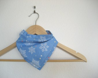 Blue Snowflake Bandana Bib for Baby, Bibdana
