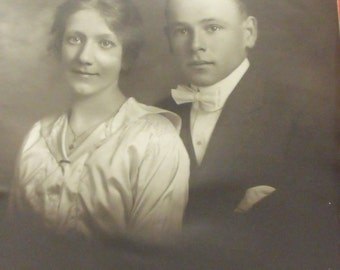 """Sale Vintage  photo of young couple black white size 11""""x13.5"""""""