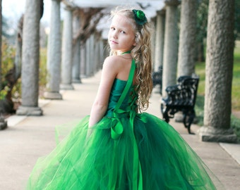 Green Flower Girl Tutu Dress Wedding Tutu Emerald Kelly Hunter Green and Satin Fabric Lace-Up Top for Weddings, Bridal, Special Occasions