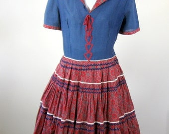 1950s Blue Red Squaw Dress Southwestern Dress Circle Skirt Size Medium
