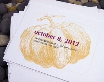 Save the Date Cards Fall Wedding  Fat Orange Pumpkin Custom Autumn Wedding  Bold Modern