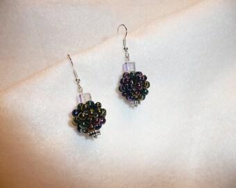 Iced Grapes Bead Ball Earrings