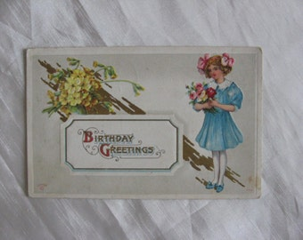 Birthday Vintage Postcard - E. Sanders Card -Girl with Pink Ribbons and Bouquet 1913 Postcard