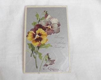Signed Vintage Postcard Pansy Floral Silver Tone Vintage Postcard Signed Art Card C. Klein Artist