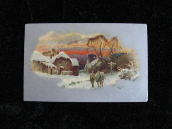 1908 Winter Postcard Vintage Horse and Homestead Scene
