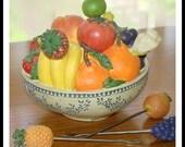 Vintage Hors d'oeuvres or Canape Fork Holder. Fruit Design. Resin Construction