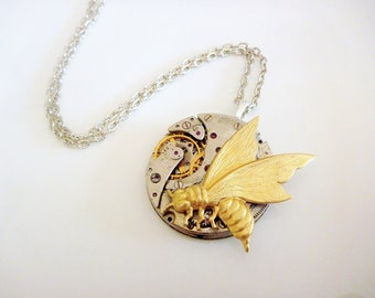 Steampunk Necklace, Pocket Watch Pendant with a raw brass bee - ON SALE