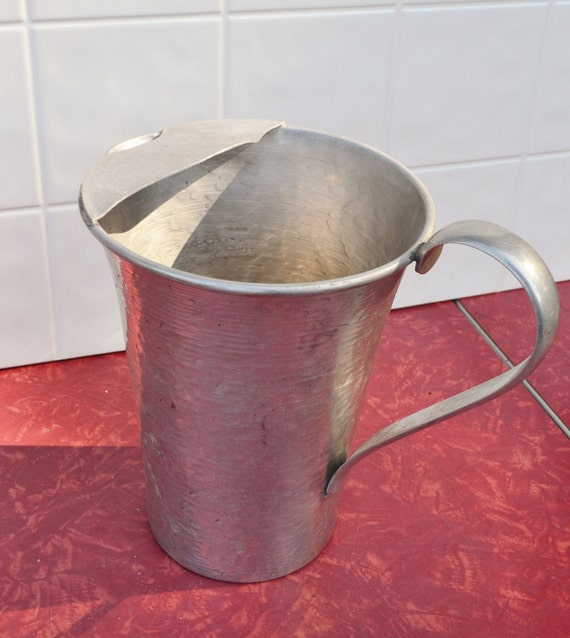 Hammered Aluminum Pitcher by Gailstyn Vintage Silver 1960's