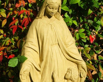 MADONNA & CHILD STATUE Solid Stone Original Sculpture by Michael Gentilucci. Virgin Mary Outdoor Garden Yard Patio Accent. Made in U.S.A (O)