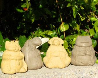 SMALLMEDITATING ANIMALS (Set/4 Dog, Cat, Frog & Turtle) Solid Stone indoor outdoor Spiritual Sculptures statues