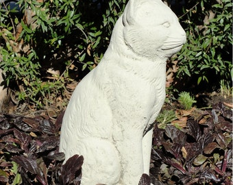 VINTAGE CAT STATUE Solid Concrete Cement Garden Art Retro Cat Lover Gift Outdoor Sculpture Patio Yard American Made Choose Your Color