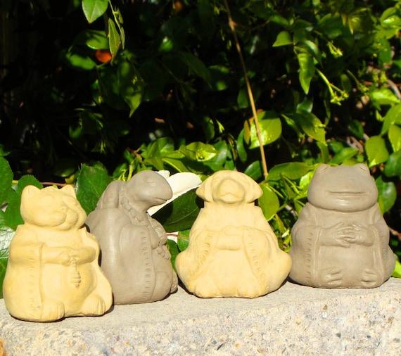 Stone MEDITATING ANIMALS (Set/4) - Dog, Cat, Frog & Turtle Buddha Sculptures (ao)