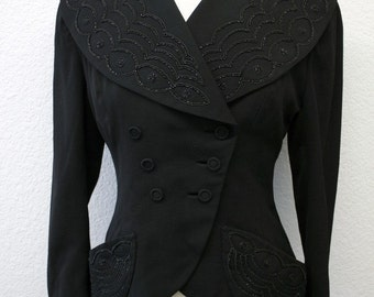 Vintage 1940s Jacket Coat 40s Beaded Black Jet Black Heavily Beaded Double Breasted Wasp Waist Ladies COUTURE Coat by Raymond Cooper