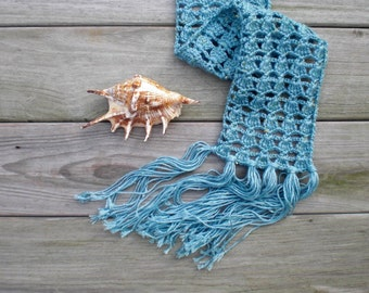 Hand crochet scarf / turquoise / aqua blue / sky blue / rustic chic / dressy / lace / feminine / fresh / summer / white flower / spring