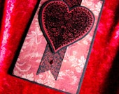 Handmade Gothic Victorian Lacy Heart Greeting Card