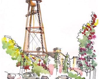 Campbell Water Tower, California, Watercolor sketch in warm orange and brown tones, 8x10 inch print