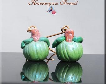 Pumpkin earrings, Halloween earrings, jack o'lantern earrings, Green Pumpkin earrings, Titanium Earrings, Priority Maill upgrade