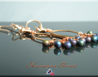 Wire wrpped, Dangle Earrings, Bronze earrings, copper earrings, beaded earrings, Grape Rainbow Cluster