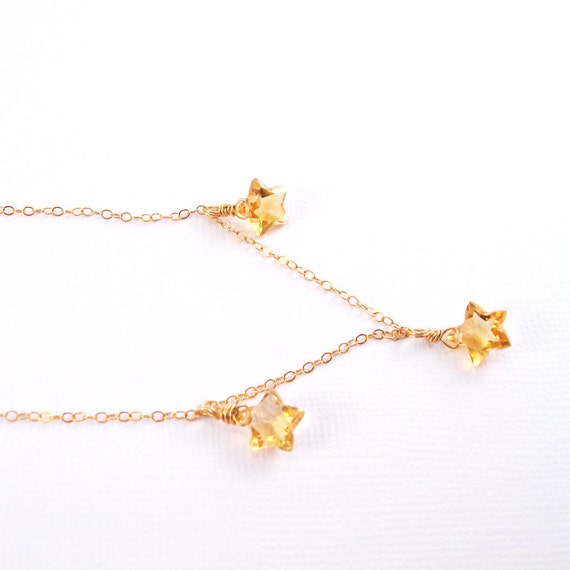 Golden Citrine Stars, Gold Necklace, Citrine Star Trio, Gold Filled Chain - Twinkle Twinkle
