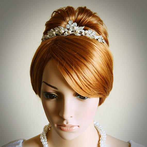 CORINNE, Victorian Bridal Tiara, Vintage Style Wedding Tiara, SWAROVSKI Rhinestone and Pearl Bridal Crown, Flower Wedding Hair Accessories
