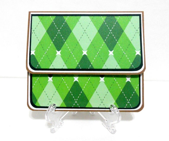 CLEARANCE-Green Argyle Fathers Day Gift Card Holder