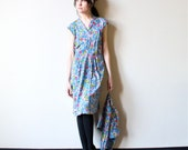 40s Rayon Print Dress - vintage 3 piece outfit with dress, bolero & sash, abstract floral in hot pink, lime green, teal blue