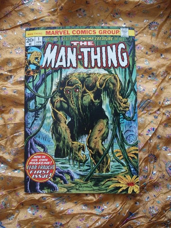 The Man-Thing Marvel Comics no 1 1974 Brunner Mayerik Gerber Comic Book Howard The Duck Palace Of The Gods
