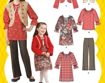 Simplicity Pattern 2321 Girls' Dress, Tunic, Jacket, Vest and Pant Sizes 3-6 NEW