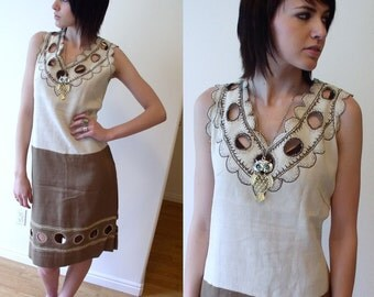 vintage 60s cocoa, natural linen CUT OUT drop waist Flapper DRESS embroidered Extra Large mod