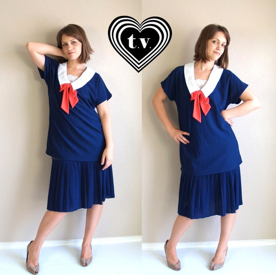 vtg 60s navy red SAILOR drop waist flapper DOLLY neck tie DRESS pleated Large nautical