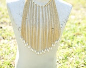 GORGEOUS Long Drop Chain Gold tone Chain Fringe Necklace with Pearl Accents