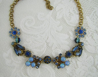 Moonlit Dreams- Vintage Refashioned Rhinestone Statement Necklace- Austrian Jewelry- Sapphire, Cobalt, Navy Blue- One of a Kind