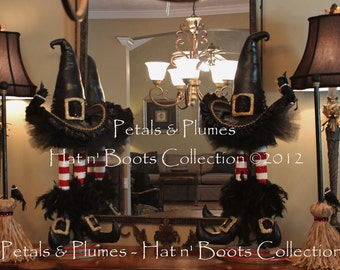 "PRE-ORDER for ""2017""Delivery-Halloween Wicked Witch Stand w/Broom-Wreath Accent(Listing is for 1 Stand)-Petals & Plumes ORIGINAL Design©"