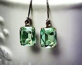 Peridot Earrings Vintage 1950's Light Peridot Green Glass Rhinestones  Mint Green Earrings  August Birthstone Gift Idea  Prom