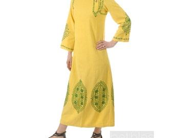 1960s Caftan Cotton Caftan Maxi Dress Yellow Maxi Dress Vintage 60s Yellow Cotton Kaftan with Nehru Collar Maxi Yellow Kaftan