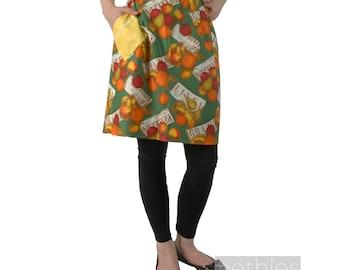 1960s Apron Half Apron Margaret Booker Apron Colourful Fruit Kitchen Apron Vintage 60s Hostess Apron Yellow Apron Yellow Print Apron