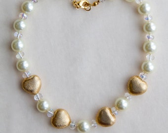 """Pearl Necklace White with Gold Hearts Single Strand Hand Knotted 14"""" 10mm Choker Necklace"""