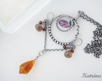 OOAK Wire Wrapped Necklace - Sterling and Fine Silver with Amethyst, Smoky Quartz, Garnet and Citrine - Gift Under 200
