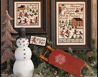 January Book No. 177 : Prairie Schooler cross stitch pattern New Year's Day Winter counted hand embroidery